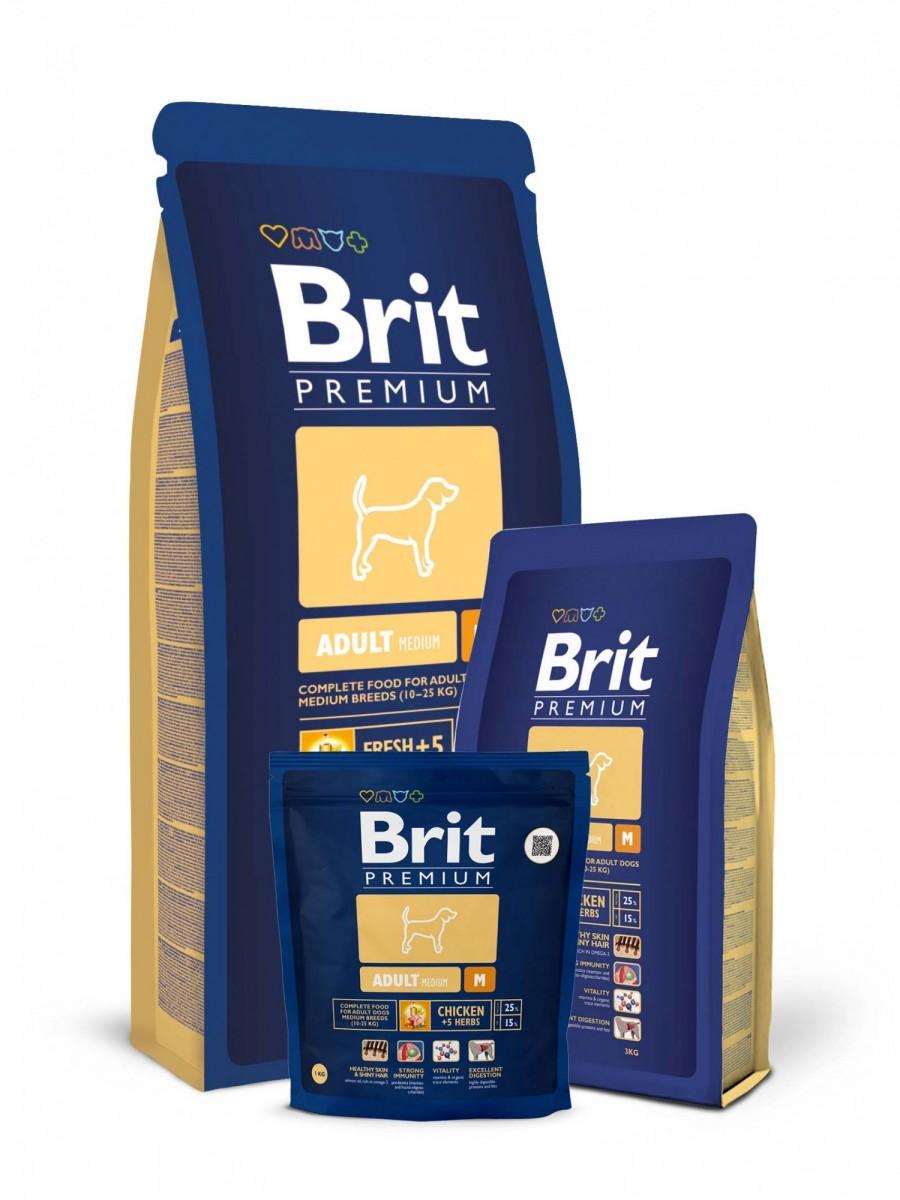 Корм BRIT для взрослых средних собак, 8 кг