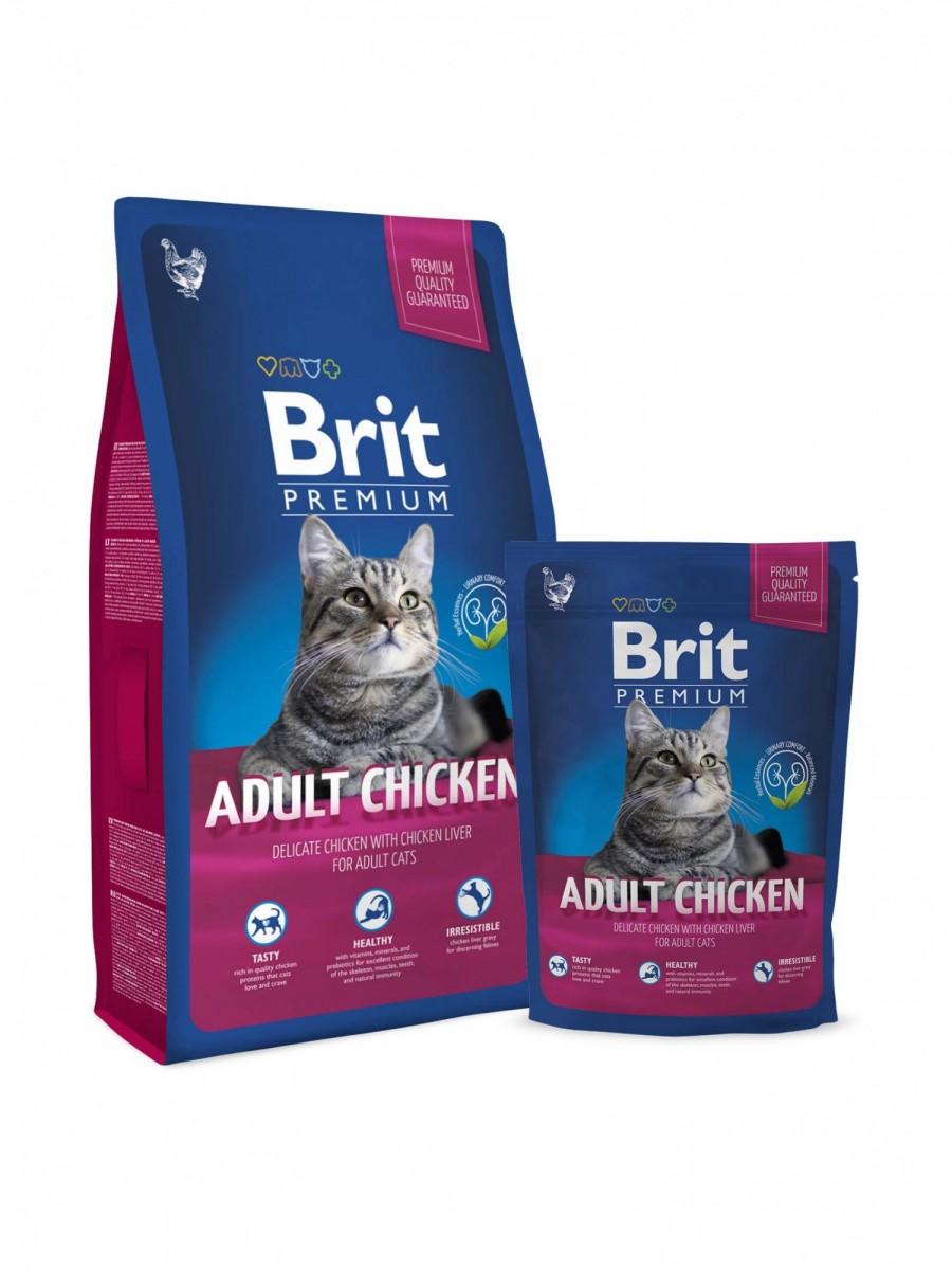 Корм BRIT для взрослых кошек с курицей, 300г